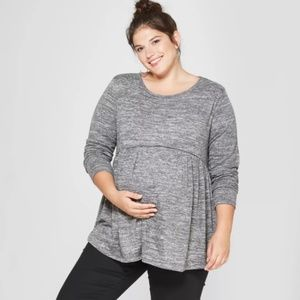 Isabel Maternity Gray Long Sleeve Flow Top NWT Med
